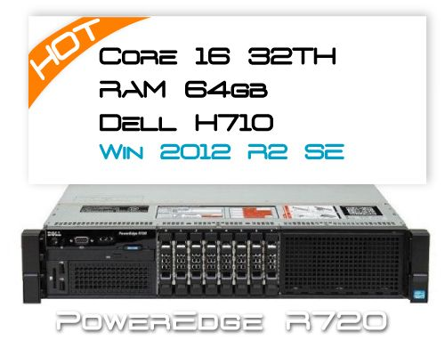 Dell R720 / 16 Core / 64GB RAM / H710 / 2x 300GB 15K / Win 2012R2 Standard 2P