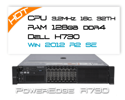 Dell R730 / 2x E5-2667v3 3,2GHz 16 Core / 128GB RAM / H730 / 2x 400GB SSD / Win 2012R2