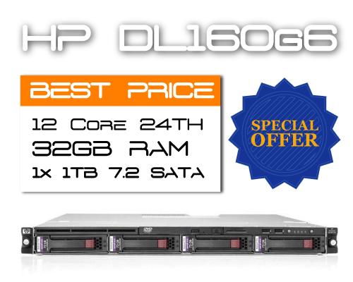 HP DL160G6 / 12 Core 24TH / 32GB RAM / 1TB 7.2K SATA