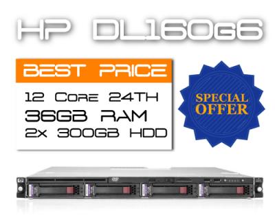 HP DL160G6 / 12 Core 24TH / 36GB RAM / 2x 300GB HDD