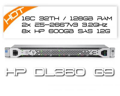 HP DL360 G9 / 2x 8C E5-2667v3 3.2GHz / 128GB DDR4 / 8x HPE 600GB SAS 12G