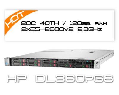 HP DL360P G8 / 2x E5-2680v2 2,8GHz 10 Core / 128GB
