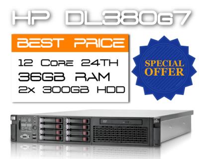 HP DL380 G7 / 12 Core 24TH / 36GB RAM / 2x 300GB HDD