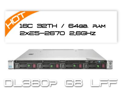 HP DL360P G8 / 2x E5-2670 2,6GHz 8 Core / 64GB