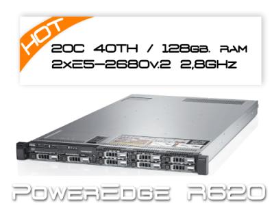 Dell R620 / 2x E5-2680v2 2,8GHz 20C 40TH / 128GB RAM / H710