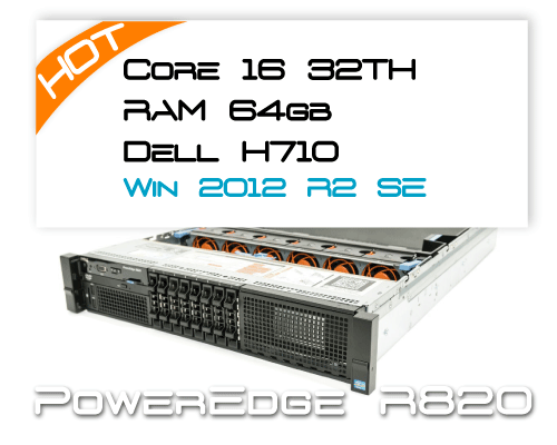 Dell R820 / 2x E5-4640 2,4Ghz 8 Core / 64GB RAM / H710  / Win 2012R2 Standard 2P