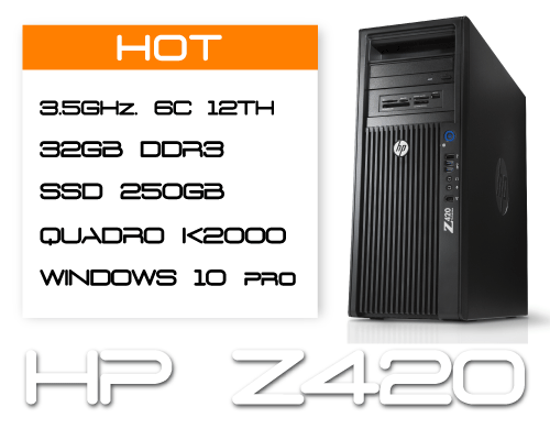 HP Z420 E5-1650v2 3,5GHz 6 Core / 32GB RAM / SSD 250GB / K2000