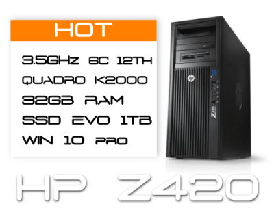 HP Z420 E5-1650v2 3,5GHz 6 Core / 32GB RAM / SSD 1TB  / K2000