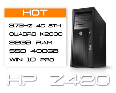 HP Z420 E5-1620v2 3,7GHz 4 Core / 32GB RAM / SSD 400GB  / K2000