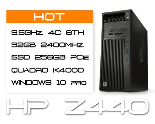 HP Z440 E5-1620v4 3,5GHz 4C 8T / 32GB DDR4 / SSD 256GB / K4000