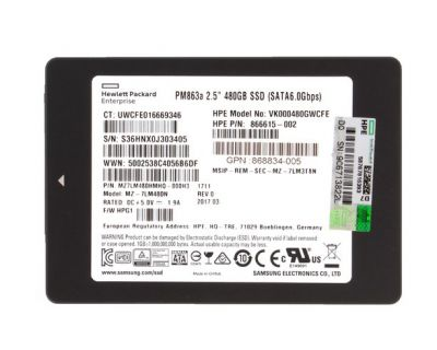 HP Enterprise 480GB SSD SATA 6Gb/s SFF P/N:866615-002