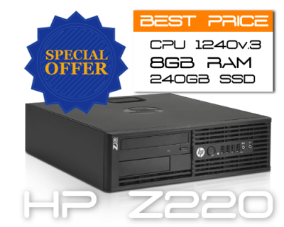 HP Z220 SFF E3-1225v2 3.2GHz 4C 8TH / 8GB / SSD 240GB